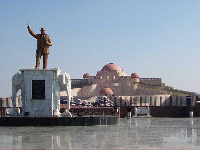 1. Dr. Bhimrao Ambedkar. Bronze sculpture in front of the Ambedkar stupā, Dr. Bhimrao Ambedkar Samajik Parivartan Prateek Sthal (Ambedkar Memorial), Lucknow