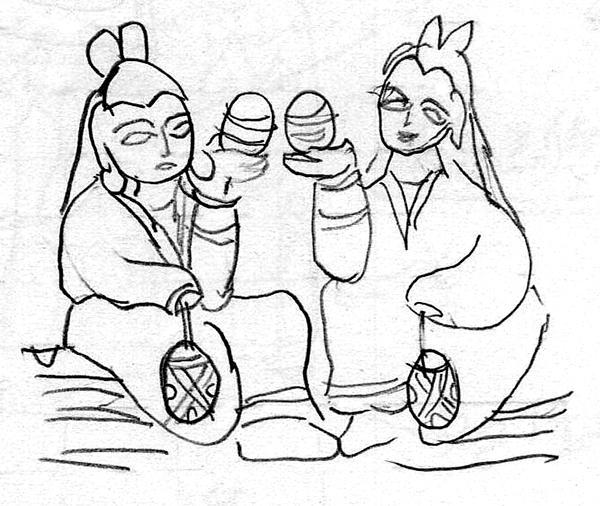 19 Detail of the two kneeling patrons at the back of the mandorla, seated Śākyamuni Buddha excavated from Beiwu-zhuang, Hebei province. Northern Wei, 495. Stone. Sketch by the author