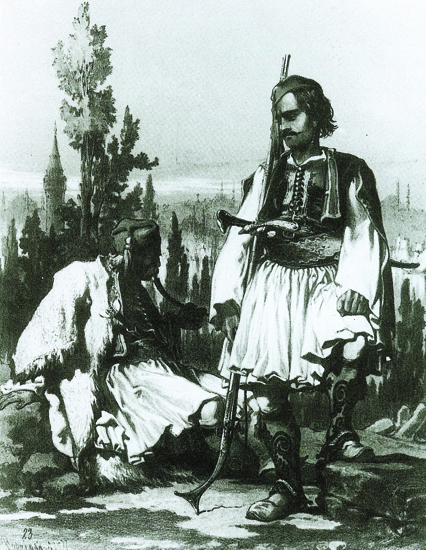 Figure 4. Amadeo Preziosi, Albanians in Constantinople, plate 23 from Stamboul moeurs et costumes, Paris, 1883