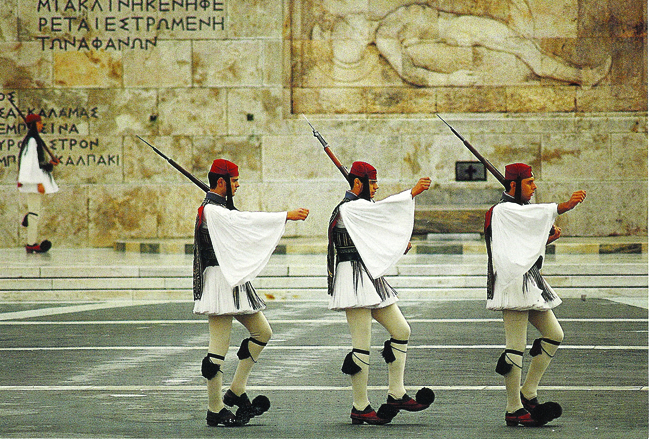 Figure 14. Evzones of the Greek Presidential Guard in national dress. Tourist postcard purchased in Athens
