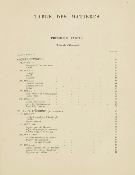 Figure 3. Page 1, Table of contents for Elbise-­İ Osmaniyye, Ottoman, Istanbul, ca. 1873. 37 x 29 cm. Courtesy of Special Collections, Fine Arts Library, Harvard University