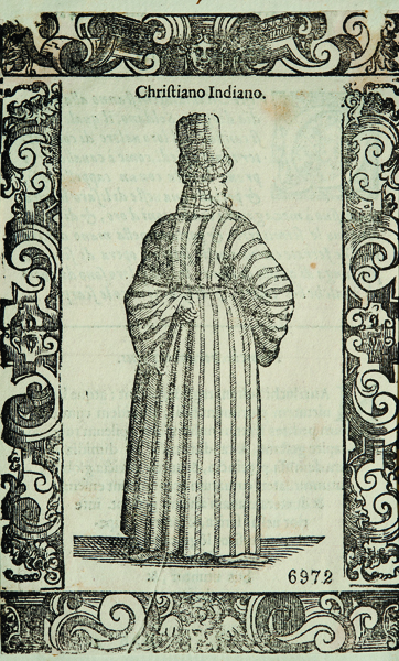 Figure 4. Chrieger Christopher and Cesare Vecellio, Donna del Cairo (top) and Christiano Indiano (bottom), from Clothes of Ancient and Modern of the Different Parts of the World, 1590–­99. Woodcut, 9.5 x 15.1 cm. Museums of Art and History, Pinacoteca Tosio Martinengo