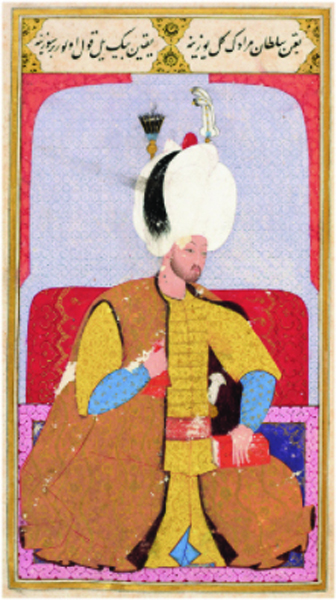 Figure 5. Murad III, fol. 72a from the Şema'ilname of Lokman, Istanbul, 1579. Topkapı Palace Library, H. 1563