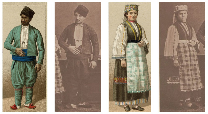 "Figure 15. Auguste Racinet, Details of ""European and Greek Turks,"" from Les Costumes Historique, 1888 (Paris: Firmin-Dido), and Pascal Sébah, Detail of ""Greek peasant from Monastir"" (left) and detail of ""Female farmer from Scutari"" (right), from Elbise-i Osmaniye, Courtesy of Special Collections, Fine Arts Library, Harvard University"