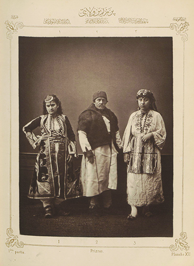 "Figure 16. Right: Pascal Sébah, ""Muslim woman from Presen,"" part 1, plate 12, from Elbise-­i Osmaniye, Ottoman, Istanbul, ca. 1873. Phototype, 37 x 29 cm Courtesy of Special Collections, Fine Arts Library, Harvard University"