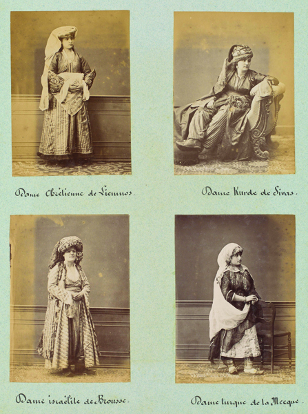 "Figure 17. ""Album page with female types."" Pierre de Gigord Collection of Photographs of the Ottoman Empire and Republic of Turkey, Getty Research Institute, 96.R.14"