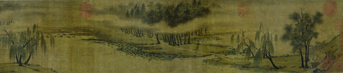Figure 1a. Zhao Lingrang (active 1070–after 1100), Summer Mist along the Lakeshore (detail, right half), 1100. Handscroll, ink and light color on silk; image: 19.1 x 161.3 cm. Museum of Fine Arts, Boston, Keith McLeod Fund, 57.724
