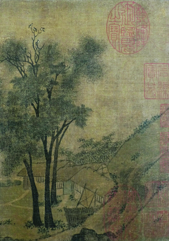 Figure 2a. Zhao Lingrang, Summer Mist along the Lakeshore, detail of four birds sitting in tree top