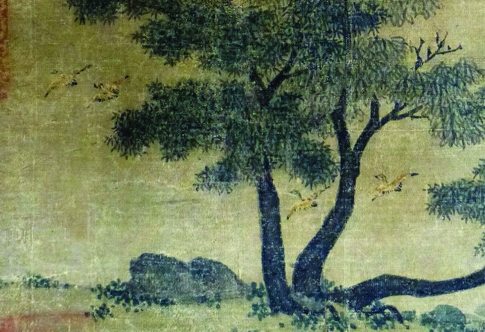 Figure 2b. Zhao Lingrang, Summer Mist along the Lakeshore, detail of four ducks flying at water level