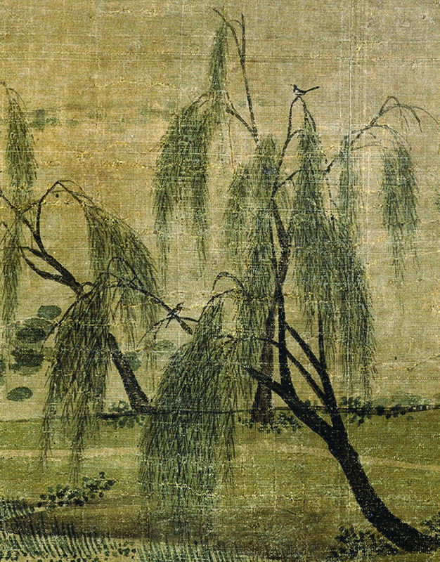 Figure 3a. Zhao Lingrang, Summer Mist along the Lakeshore, detail of two birds in willows