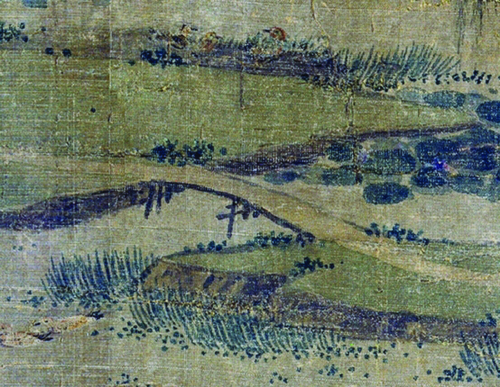 Figure 4a. Zhao Lingrang, Summer Mist along the Lakeshore, detail of earth-topped bridge near opening of scroll