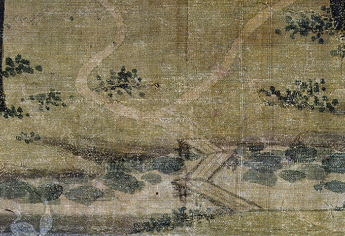 Figure 4b. Zhao Lingrang, Summer Mist along the Lakeshore, detail of smaller zigzag plank bridge to left