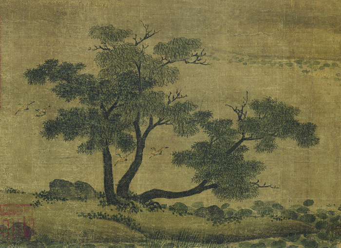 Figure 6. Zhao Lingrang, Summer Mist along the Lakeshore, detail of trees at end of composition, with mix of bare and leafy branches and right tree leaning back into the landscape
