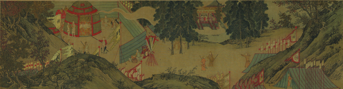 Figure 6. After Xiao Zhao (active mid-12th century), Auspicious Omens for Dynastic Revival, episode 12, Gaozong Dreams of Qinzong Offering Him the Imperial Robe, 1171–74. Text composed by Cao Xun (1098–1174). Handscroll, ink and color on paper; 26.7 x 397.3 cm. Tianjin Museum