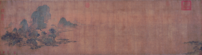 Figure 9. Wang Shen (ca. 1048–ca. 1103), Misty River and Layered Peaks, ca. 1090. Handscroll, ink and color on silk; 45.2 x 166 cm. Shanghai Museum