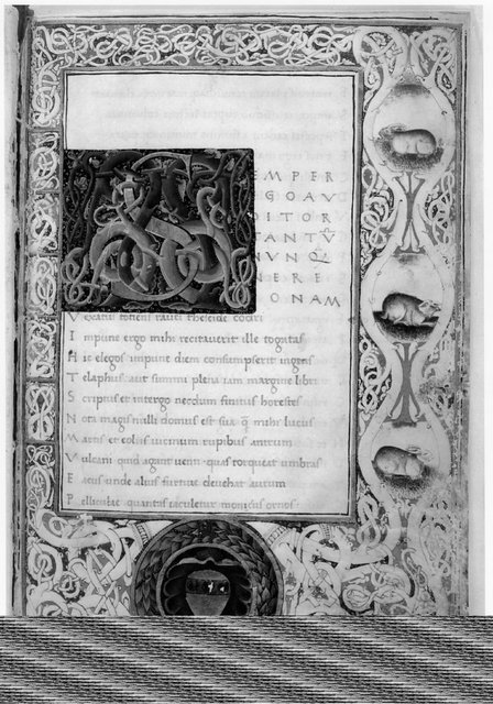 Fig. 1. Frontispiece, from Satires of Juvenal. Mich. MS 147, f. 1.: Special Collections Library, University of Michigan.