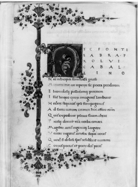 Fig. 2. Frontispiece, from Satires of Persius, Mich. MS 147, f. 94v.: Special Collections Library, University of Michigan.