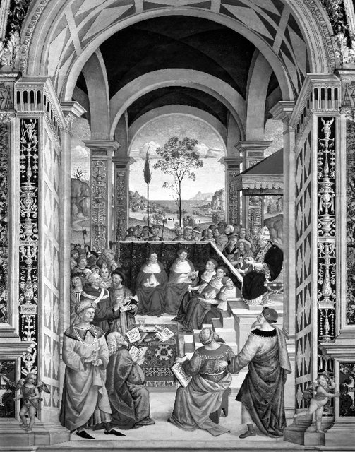 Fig. 5. Pintoricchio (Italian, 1454-1513), Pius II summons an assembly in Mantua for a crusade against the Turks. Libreria Piccolomini, Duomo, Siena, Italy.: Scala / Art Resource, NY.