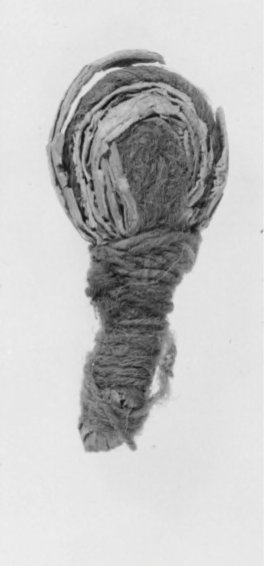 Fig. 5. Small example of doll-figurine, papyrus, 3 × 1.5 cm. KM 3647.