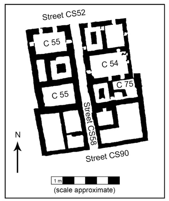 Fig. 9. Plan of houses C54, C55, and C75.