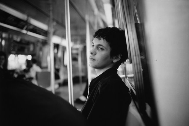 Goldin, Nan, American, born 1953.  Simon on the Subway, NYC, 1998.  Cibachrome print, 33 ×  48.9 cm.  Museum purchase made possible by the Jean Paul Slusser Memorial Fund, 2004/1.157