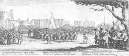 Fig. 1. Jacques Callot, Enlisting of the Troops, no. 2 from Les Grandes Misères de la Guerre, 1633, etching. Anonymous Gift for The Paul Leroy Grigaut Memorial Collection, University of Michigan Museum of Art, 1972/2.355.