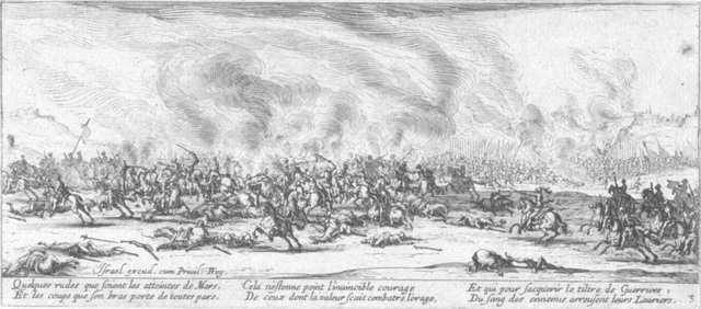 Fig. 2. Jacques Callot, The Battle, no. 3 from Les Grandes Misères de la Guerre, 1633, etching. Anonymous Gift for The Paul Leroy Grigaut Memorial Collection, University of Michigan Museum of Art, 1972/2.356.