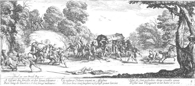 Fig. 7. Jacques Callot, Attack of the Coach, no. 8 from Les Grandes Misères de la Guerre, 1633, etching. Anonymous Gift for The Paul Leroy Grigaut Memorial Collection, University of Michigan Museum of Art, 1972/2.360.