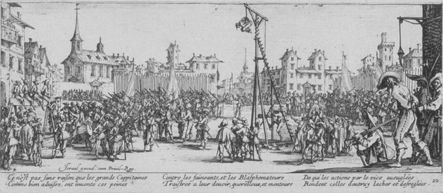 Fig. 8. Jacques Callot, The Strappado, no. 10 from Les Grandes Misères de la Guerre, 1633, etching. Anonymous Gift for The Paul Leroy Grigaut Memorial Collection, University of Michigan Museum of Art, 1972/2.362.