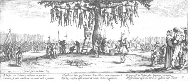 Fig. 9. Jacques Callot, The Hangman's Tree, no. 11 from Les Grandes Misères de la Guerre, 1633, etching. Anonymous Gift for The Paul Leroy Grigaut Memorial Collection, University of Michigan Museum of Art, 1972/2.363.