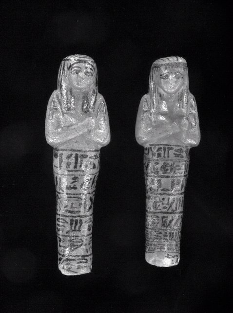 Shabti figures of Pinudjem II, Egypt, Western Thebes, Deir de Bahri (tomb DB320), ca. 969 BCE. Faience, ink, 16.5 x 5.5 x 4 cm (KM 1971.2.169), 17 x 5 4.5 cm (KM 1971.2.170). Museum purchase, 1971; ex Bay View Collection, Kelsey Museum, 1971.2.169, 1971.2.170.