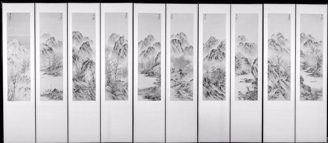 Yi Sang-Boem, Korea, 1899-1978. Landscape of the Seasons, 1943. Ten fold screen; ink and color on paper, 198.12 x 468 x 2 cm. Gift of Dr. & Mrs. Seong H. Chi, 2007/2.10