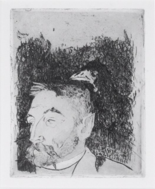 Gauguin, Paul, France, 1848-1903. Portrait de Stephane Mallarme, 1891. Etching, drypoint, engraving and aquatint, printed in brown ink on cream wove paper, 48.5 x 36.1 cm. Museum purchase made possible by  the Jean Paul Slusser Memorial Fund, 2007/2.18