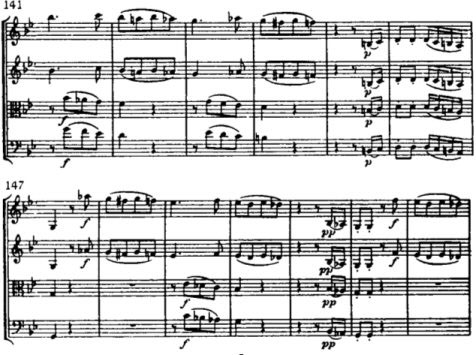 Example 1: After each of these pauses, Haydn inserts a brief assertive motif that also interrupts the flow (the unisons of mm. 146-147 and m. 152). He then continues from the point where he cut off the music before the pause. In that way, the impression is created of repeated disruptions in the course of a movement.