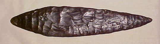 Cast of laurel leaf point, circa 22,000 - 17,000 years ago.  Photos courtesy of the Wilson Museum.
