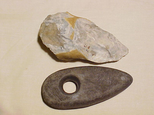Paleolithic biface and Neolithic biface compared.