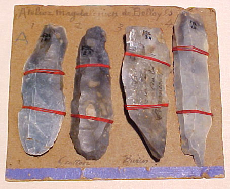 Magdalenian tools from Belloy, near Amiens, France: burins and scrapers.