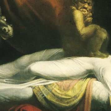 "Night's prevailing modes of touch and proximity, brought to the excess of oppression: detail from ""The Nightmare"" (1781) by Henry Fuseli. Detroit Institute of Art."