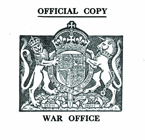 Figure 2 War Office seal, from the front pages of A collection of minor wartime government publications, https://babel.hathitrust.org/cgi/pt?id=uc1.b3039799;view=2up;seq=6;size=175