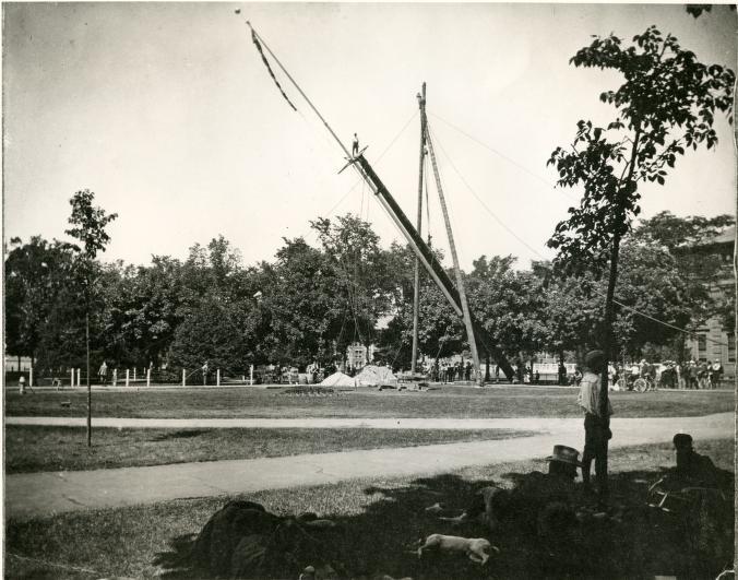 Bentley Image Bank, Bentley Historical Library: Flagpole raising on