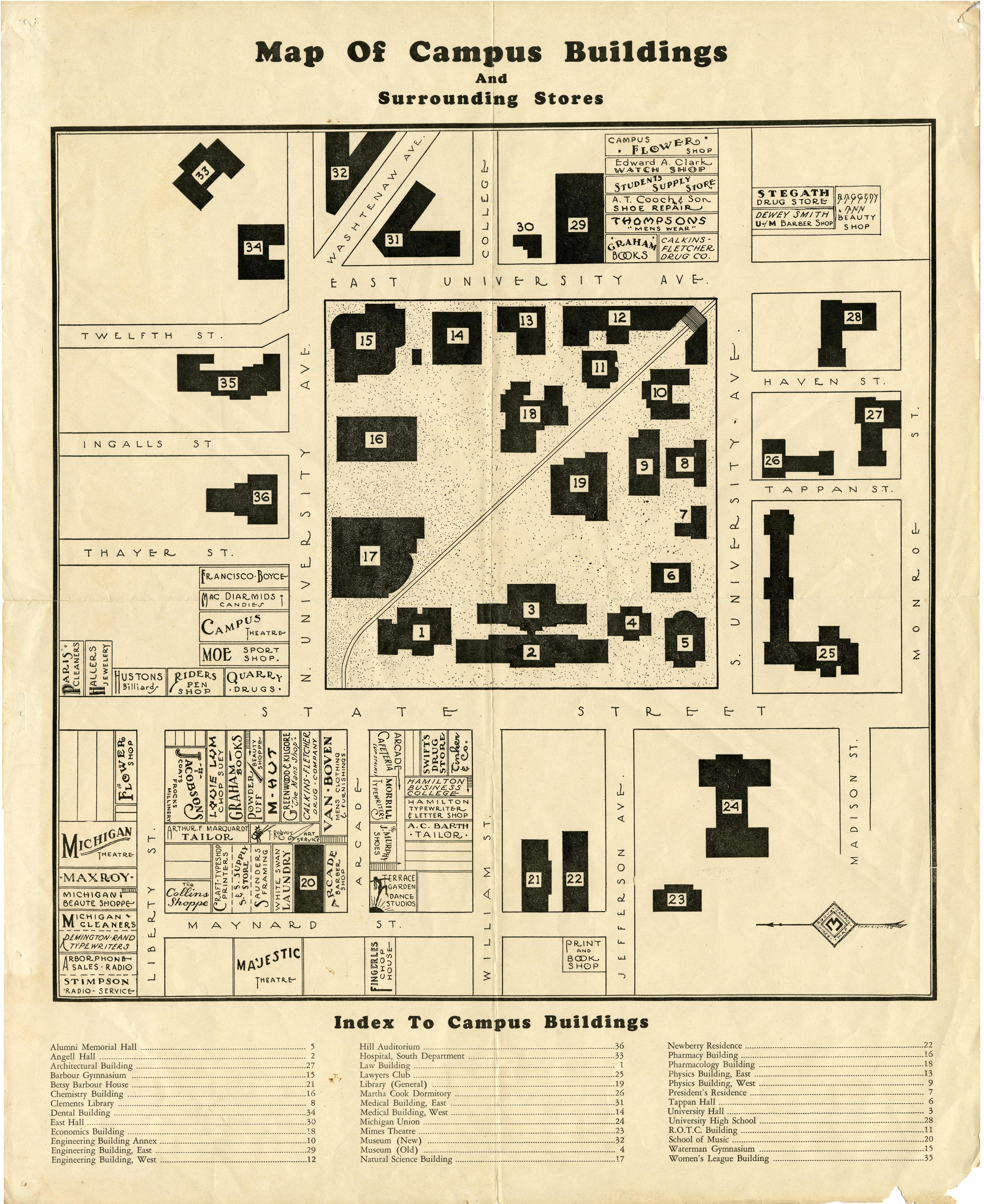 Bentley Image Bank, Bentley Historical Library: Map of campus