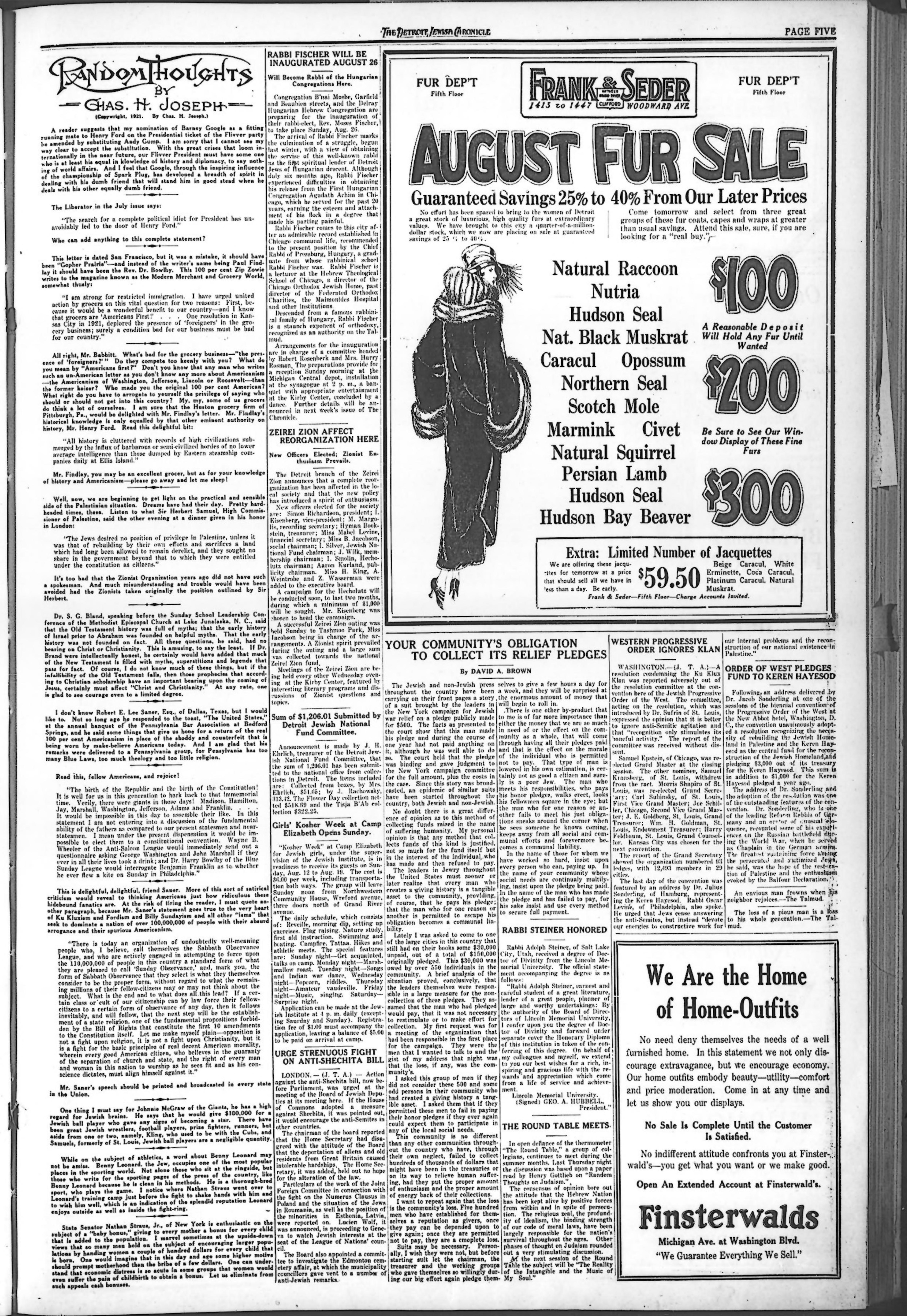 100 Americanism the detroit jewish news digital archives - august 10, 1923