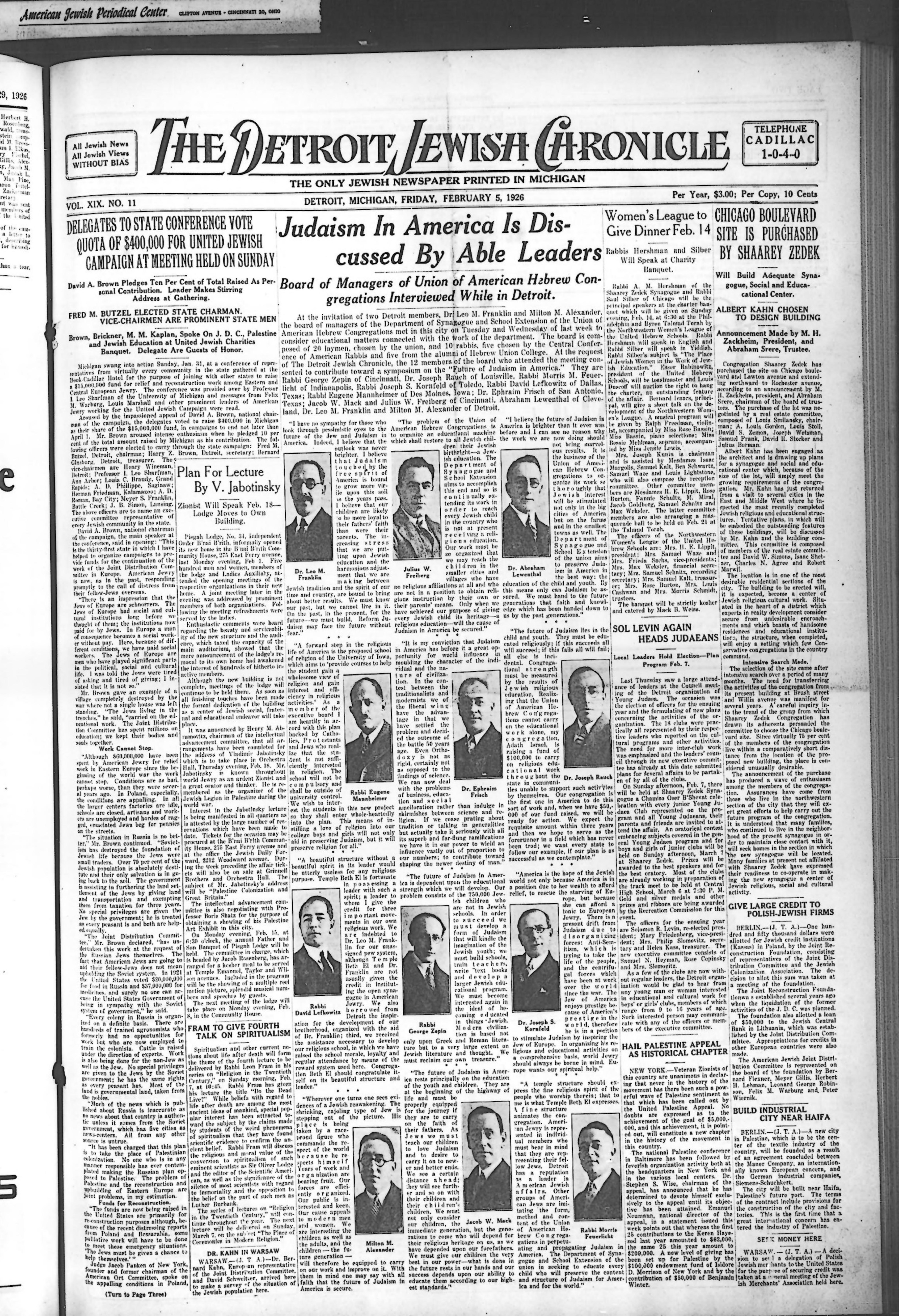 The Detroit Jewish News Digital Archives - February 05, 1926