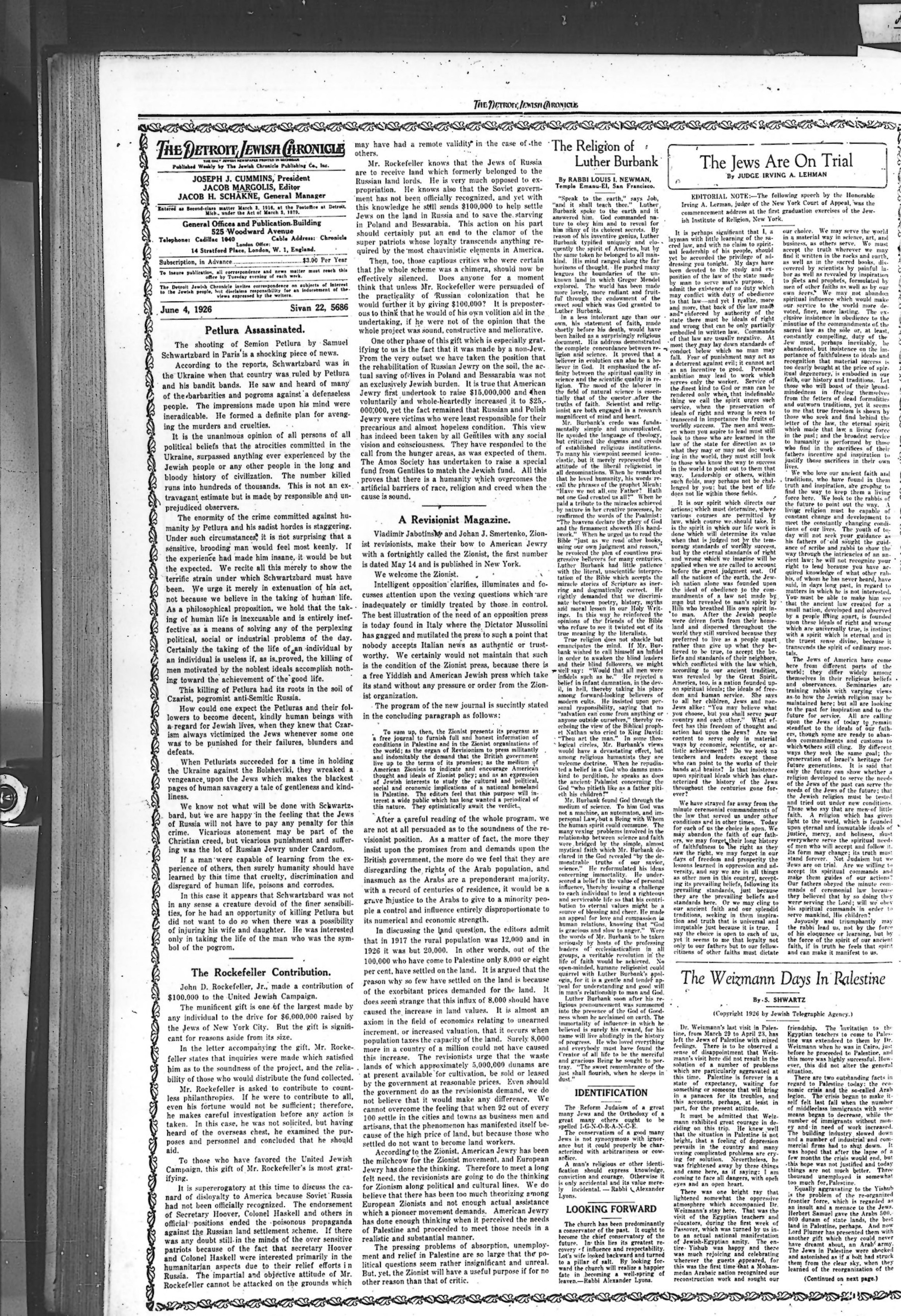 The Detroit Jewish News Digital Archives - June 04, 1926
