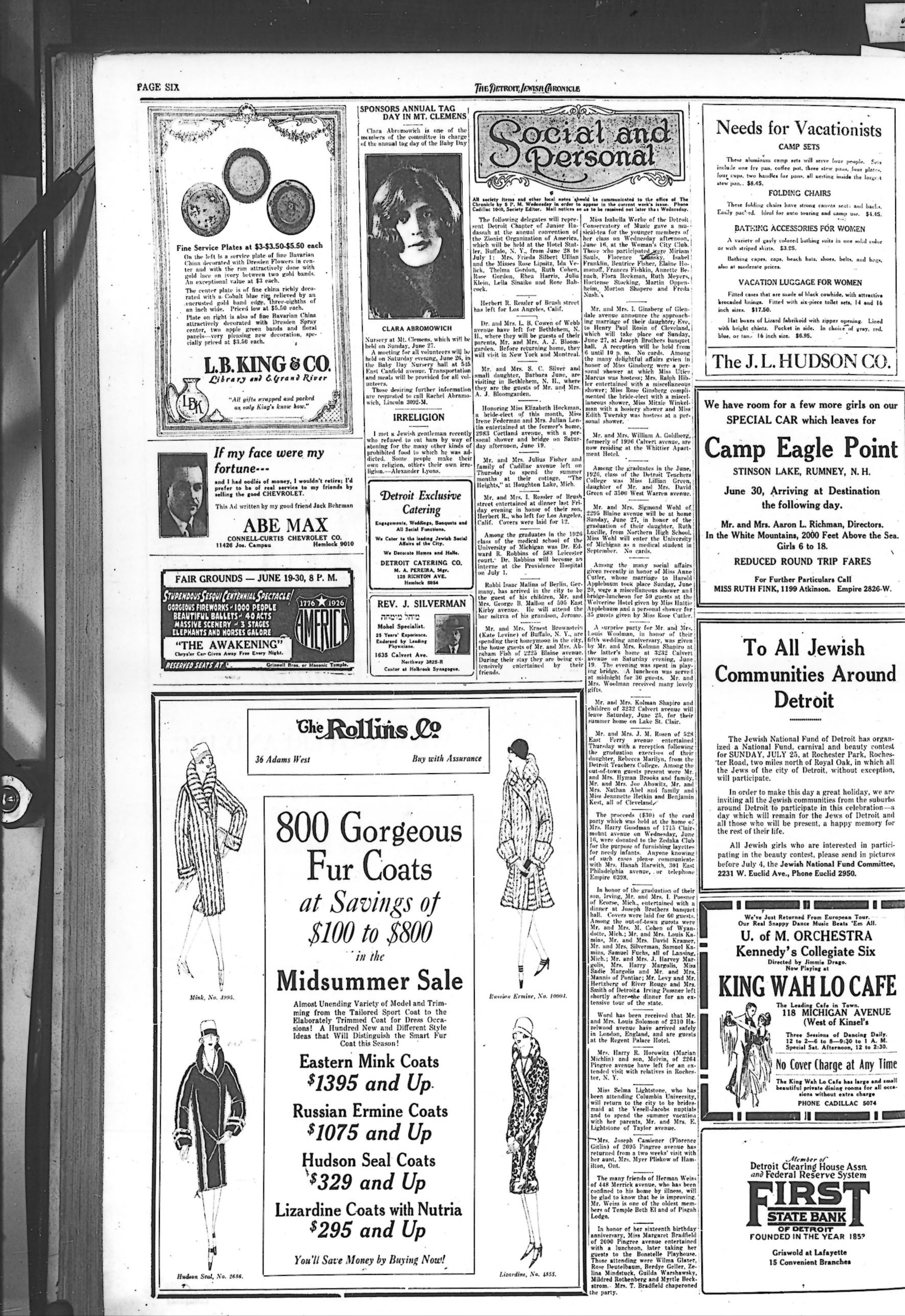 The detroit jewish news digital archives june 25 1926