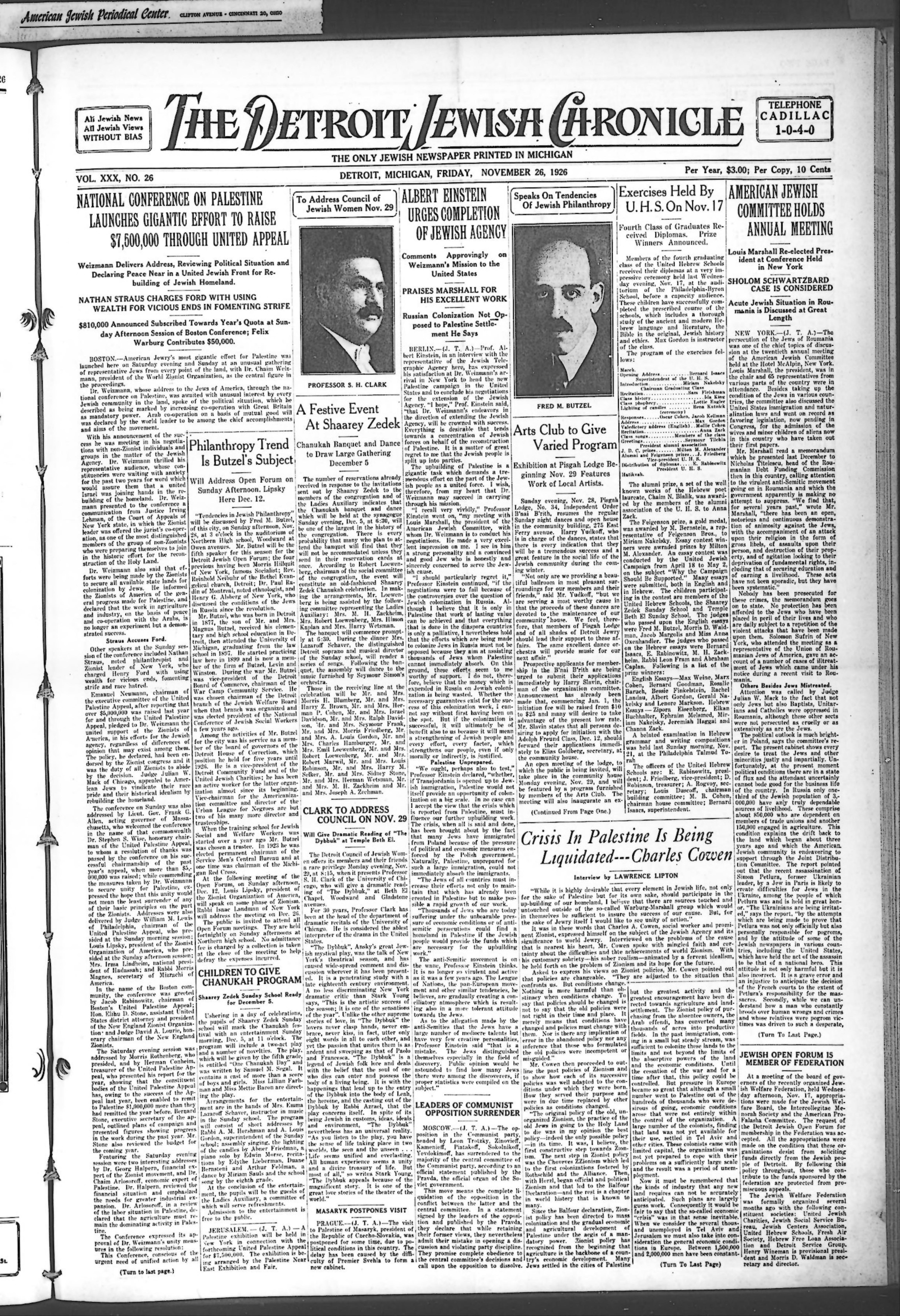 The Detroit Jewish News Digital Archives - November 26, 1926