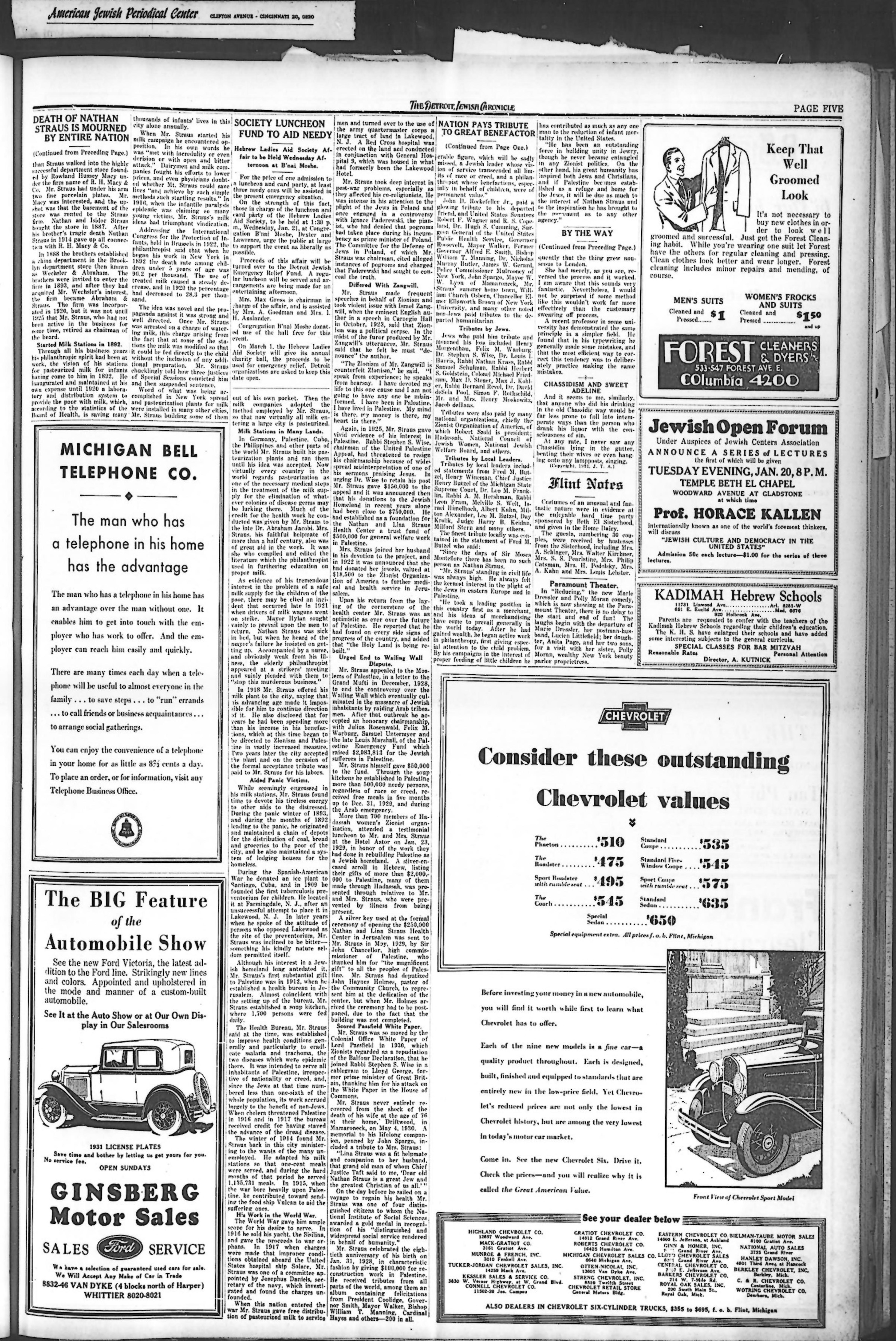The Detroit Jewish News Digital Archives - January 16, 1931