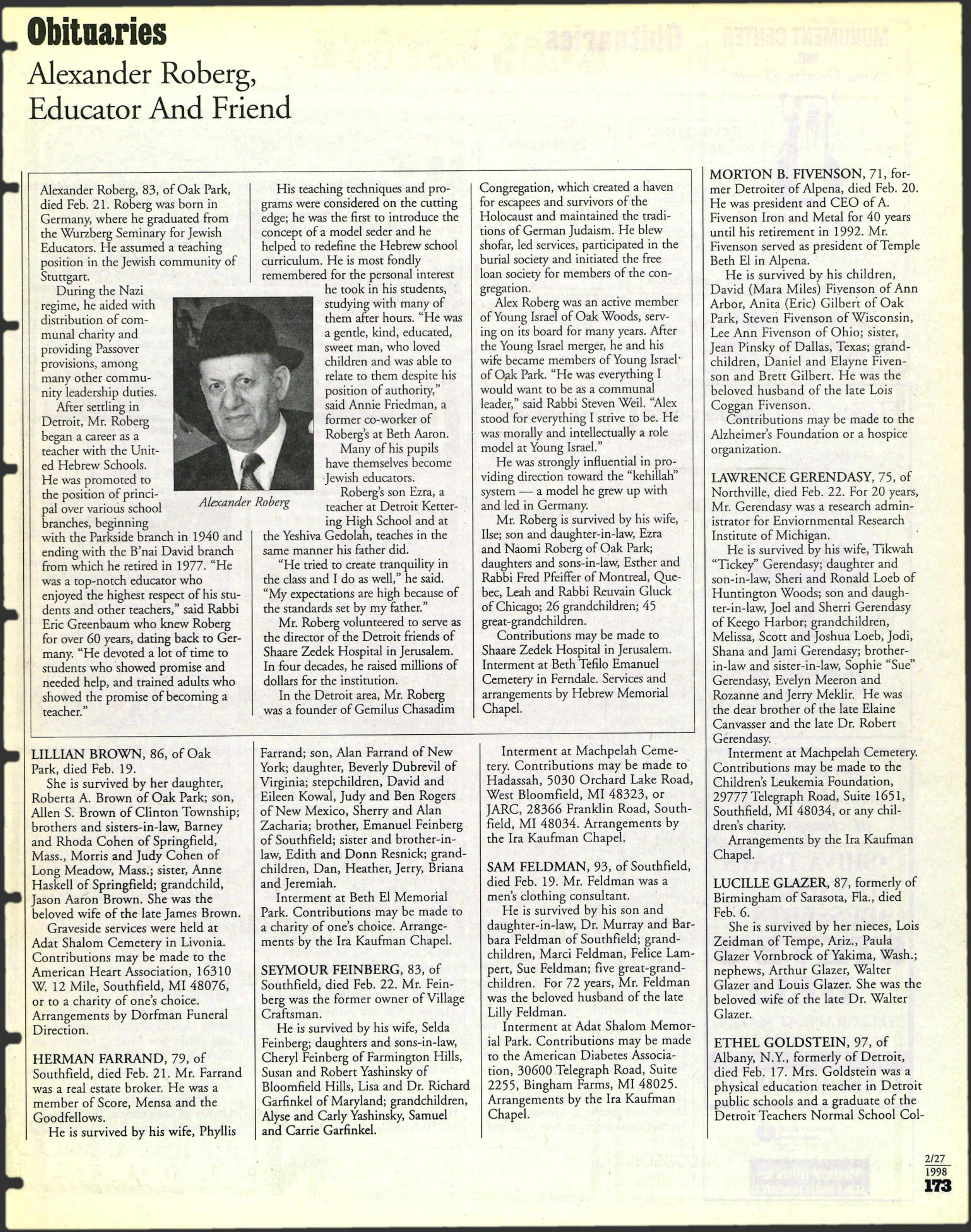 The Detroit Jewish News Digital Archives February 27 1998 Image 173