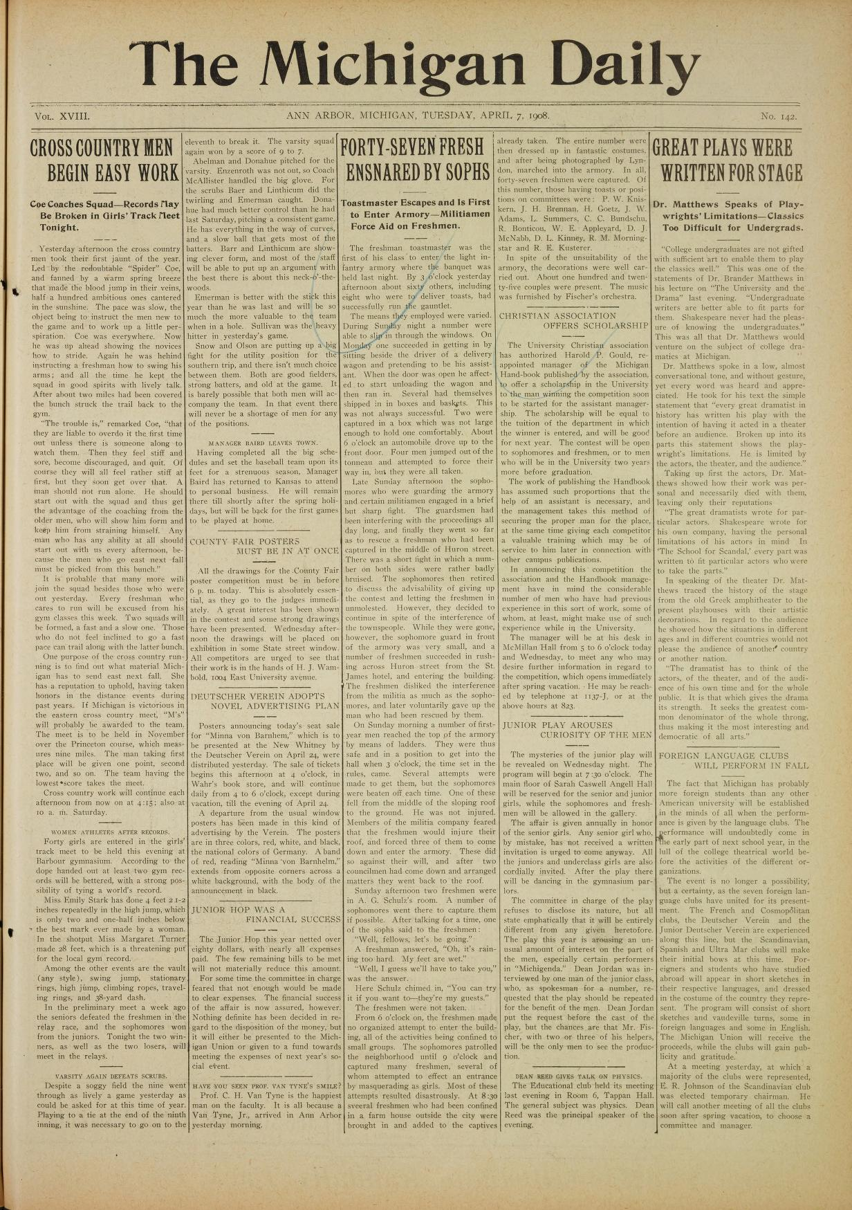 aa9af6baa012bf Michigan Daily Digital Archives - April 07, 1908 (vol. 18, iss. 142 ...