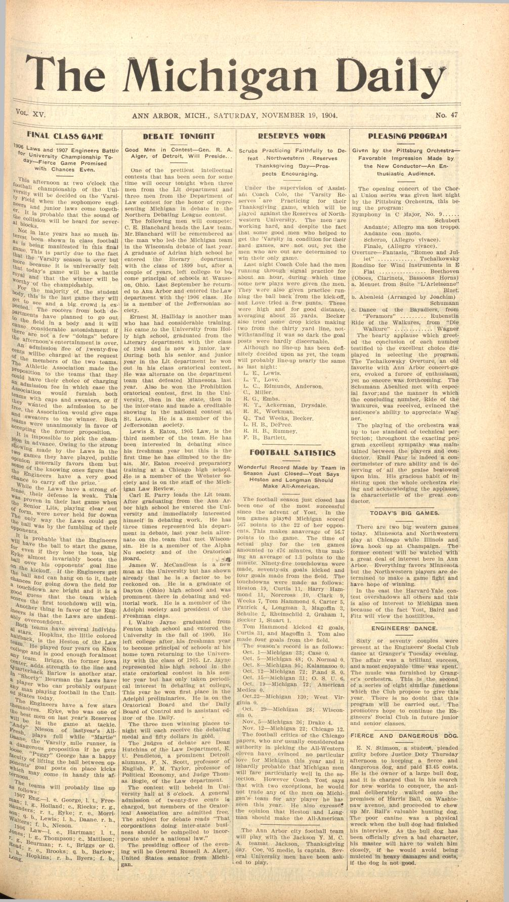 Michigan Daily Digital Archives - November 19, 1904 (vol  14